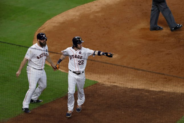 Houston Astros right fielder Josh Reddick (22) celebrates after scoring a run against the Boston Red Sox in the sixth inning of game 1 of the ALDS in Houston, Texas on October 5, 2017. File photo by Aaron M. Sprecher/UPI