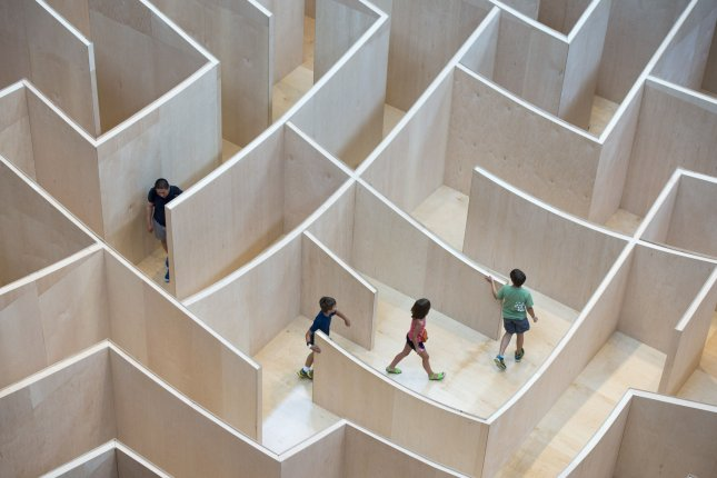 Visitors navigate the Big Maze at the National Building Museum in Washington, D.C. Photo by UPI/Kevin Dietsch
