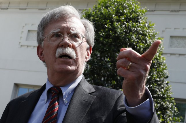 National security adviser John Bolton speaks to the media about Venezuela outside the White House in Washington, D.C., on April 30, 2019. Photo by Yuri Gripas/UPI