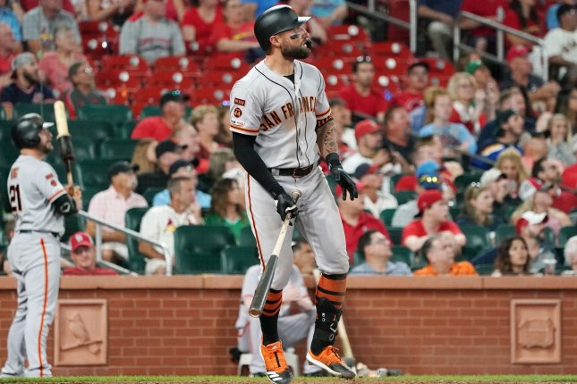 San Francisco Giants slugger Kevin Pillar went 4-for-5 with three RBIs in a win against the St. Louis Cardinals Wednesday in St. Louis. Photo by Bill Greenblatt/UPI