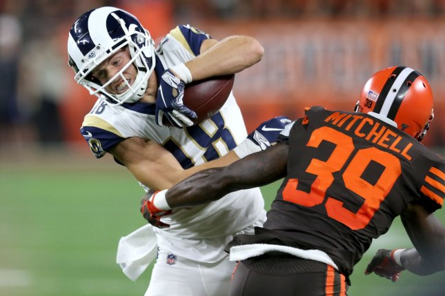 Los Angeles Rams star Cooper Kupp (L) has the fourth-highest receiving yards in the NFL this season, trailing Chris Godwin, Michael Thomas and D.J. Chark.  Photo by Aaron Josefczyk/UPI