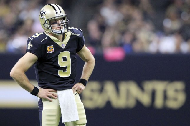New Orleans Saints quarterback Drew Brees said he's sorry about comments he made this week about NFL players protesting during the national anthem. File Photo by AJ Sisco/UPI