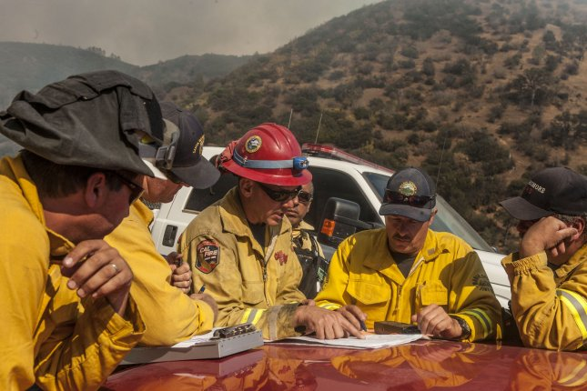 Forecasters say gusty winds and very dry air across the southwestern U.S. will increase the risk of existing wildfires to spread and new wildfires to ignite. File Photo by Al Golub/UPI
