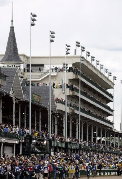 Fans pack the grandstand before the start of the Kentucky Derby at Churchill Downs in Louisville, Kentucky. This view is on May 1, 2010. UPI /Mark Cowan