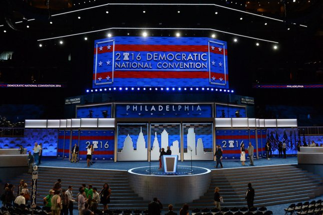 The center stage is active as preparations continue Saturday at the Wells Fargo Center for the Democratic National Convention in Philadelphia. The four-day convention starts on Monday and is expected to nominate Hillary Clinton for president of the United States. Photo by Pat Benic/UPI