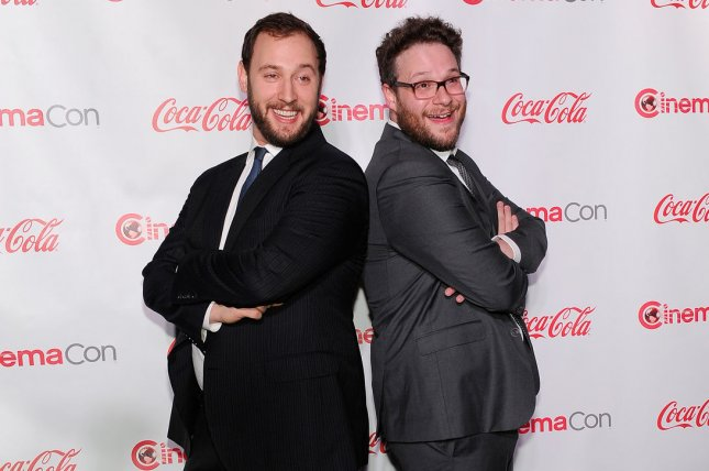 The Interview filmmakers Evan Goldberg (L) and Seth Rogen got a familiar feeling watching President Donald Trump's recent meeting with North Korean dictator Kim Jong Un. File Photo by David Becker/UPI