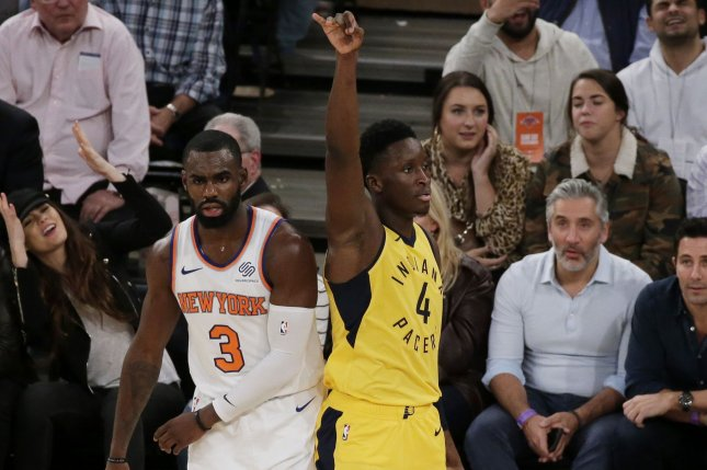 New York Knicks' Tim Hardaway Jr. reacts as Indiana Pacers' Victor Oladipo makes a basket in the 4th quarter on October 31 at Madison Square Garden in New York City. Photo by John Angelillo/UPI