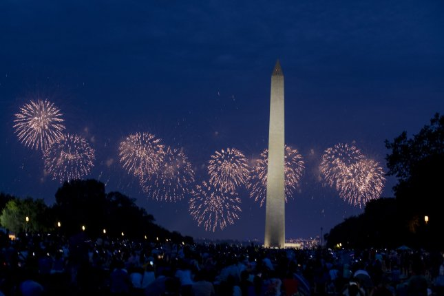 Fireworks explode over the National Mall on Independence Day in Washington, D.C. on Thursday. Photo by Anna Moneymaker/UPI