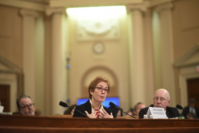 Marie Yovanovitch, former U.S. Ambassador to Ukraine, who testified last week in House impeachment inquiry hearings, was praised by six former ambassadors in new documents a watchdog released Friday. File Photo by Kevin Dietsch/UPI