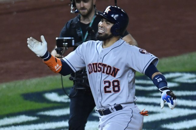 Former Houston Astros catcher Robinson Chirinos spent six seasons with the Texas Rangers before joining the Astros last off-season. File Photo by Pat Benic/UPI