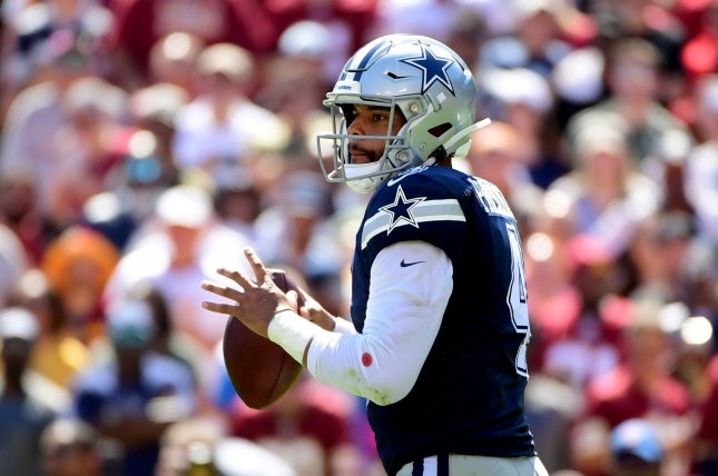 In his four seasons, Dak Prescott ranks among the top five quarterbacks in wins (40), passing touchdowns (97), rushing scores (21) and total QBR (68). File Photo by Kevin Dietsch/UPI