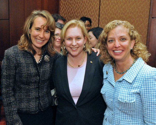 Congresswoman Gabrielle Giffords (D-AZ), Sen. Kirsten Gillibrand (D-NY) and Congresswoman Debbie Wasserman Schultz (D-FL) appear together at a US Capitol reception for Jewish American Heritage Month May 19, 2009, sponsored by the Jewish Historical Society of Greater Washington and the Jewish Federations of North America. The three women were reunited Wednesday in Gifford's hospital room in Tucson. In his public remarks that night, President Obama told of Gifford's opening her eyes for the first time since her shooting Saturday, while her colleagues and the Democratic leader Nancy Pelosi were all in her room. UPI/Ron Sachs/Jewish Historical Society of Greater Washington and the Jewish Federations of North America