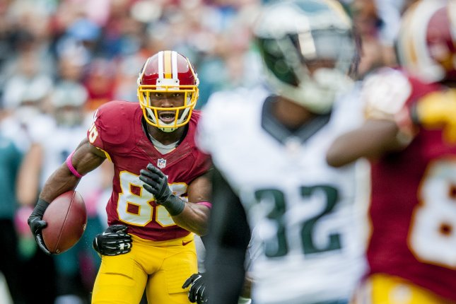 Washington Redskins' wide receiver Pierre Garçon breaks through the defense during the first quarter against the Philadelphia Eagles at FedExField on October 4, 2015 in Landover, Maryland. Photo by Pete Marovich/UPI