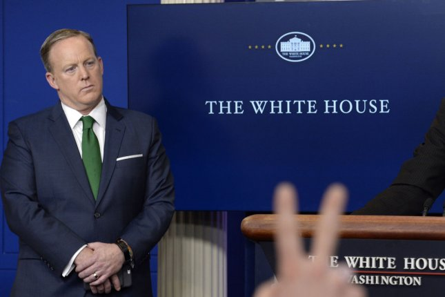 Press Secretary Sean Spicer on Thursday repeated a Fox News report suggesting British intelligence was involved in the alleged wiretapping of Trump Tower in 2016. Spicer's comments drew sharp denials from the British government, causing U.S. national security adviser H.R. McMaster to apologize. Pool photo by Olivier Douliery/UPI