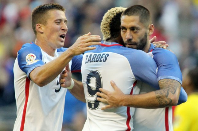 USA's Clint Dempsey, right, and Matt Besler (5) rushes in to hug Gyasi Zardes (9) after he scored a goal against Ecuador in a 2016 Copa America Centenario soccer quarterfinals at CenturyLink Field in Seattle, Washington on June 16, 2016. USA beats Ecuador 2-1 to advance to semi-finals Photo by Jim Bryant/ UPI