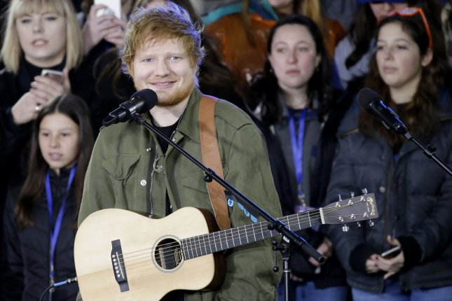 Ed Sheeran performs on Today on March 8. File Photo by John Angelillo/UPI