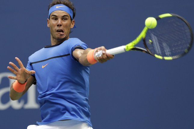 Rafael Nadal of Spain advanced into the second round of the French Open on Monday. File photo by John Angelillo/UPI