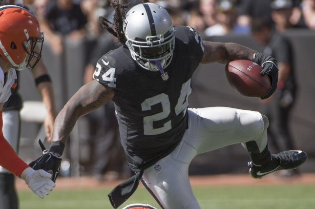 Oakland Raiders veteran Marshawn Lynch had 331 rushing yards in 2018, before being lost for the season with a groin injury. File Photo by Terry Schmitt/UPI