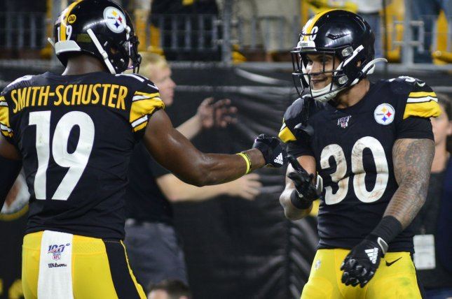Pittsburgh Steelers running back James Conner (30) has four touchdowns in his last three games entering Week 8. File Photo by Archie Carpenter/UPI