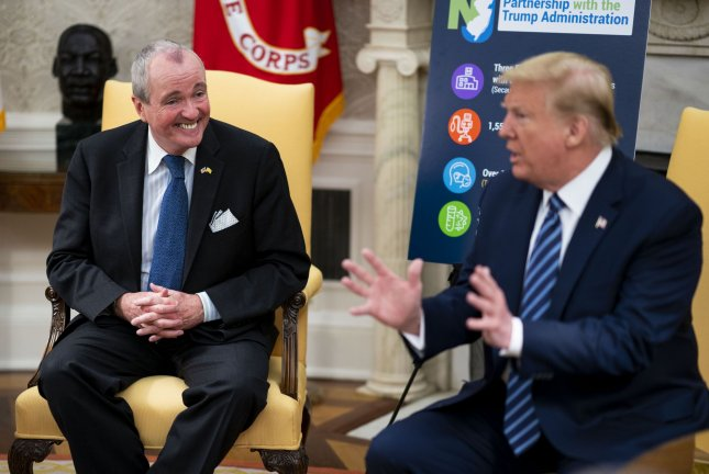 President Donald Trump meets with New Jersey Gov. Phil Murphy in the Oval Office of the White House in Washington, D.C., on April 30. File Photo by Doug Mills/UPI/Pool