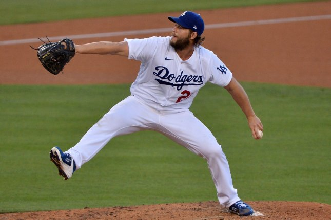 Los Angeles Dodgers starting pitcher Clayton Kershaw has won twice this postseason, but will not pitch in Game 2 of the NLCS on Tuesday in Arlington, Texas, due to back spasms. File Photo by Jim Ruymen/UPI