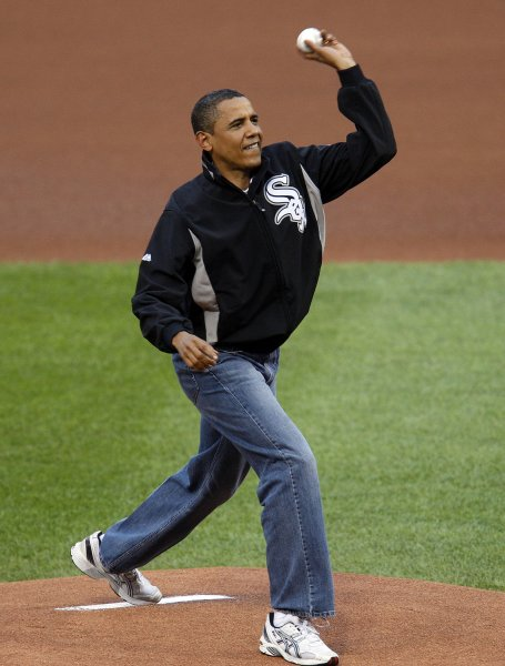 U.S. President Barack Obama delivers an honorary first pitch before the start of the 80th MLB All Star Game at Busch Stadium in St. Louis on July 14, 2009. (UPI Photo/Bill Greenblatt)