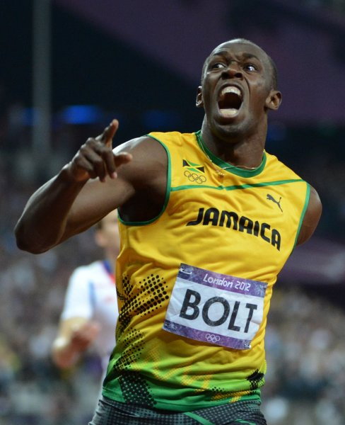 Jamaica's Usain Bolt screams in jubilation after crossing the finish line to win the gold medal in the Men's 200M Final at Olympic Stadium during the London 2012 Summer Olympics in Olympic Park in Stratford, London on August 9, 2012. Bolt became the first Olympican to win the 100M and 200M race in consecutive Olympics. His time was 19.32. Jamaica swept the race with teammates Yohan Blake getting the silver and Warren Weir the bronze medal. UPI/Pat Benic