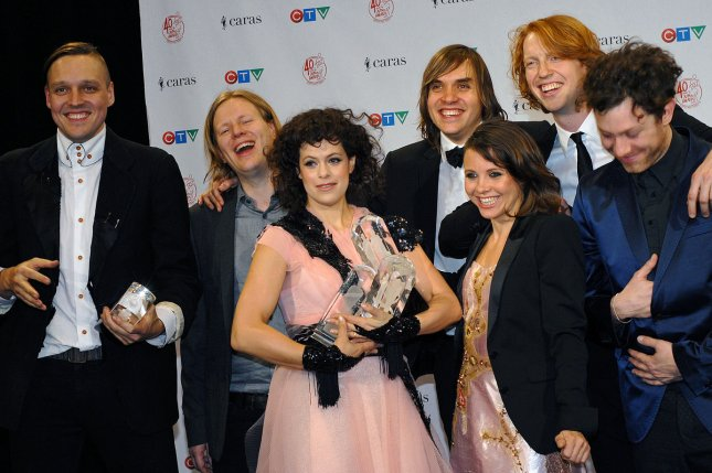 Arcade Fire wins the Group, Album, Alternative Album and Songwriter of the Year awards during the 2011 Juno Awards at the Air Canada Centre in Toronto, Canada on March 27, 2011. UPI/Christine Chew