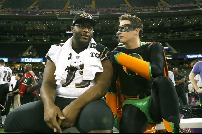 Baltimore Ravens' Cory Redding is interviewed by a Nickelodeon reporter during Super Bowl XLVII Media Day at the Mercedes-Benz Superdome in New Orleans on January 29, 2013. UPI/Aaron M. Sprecher