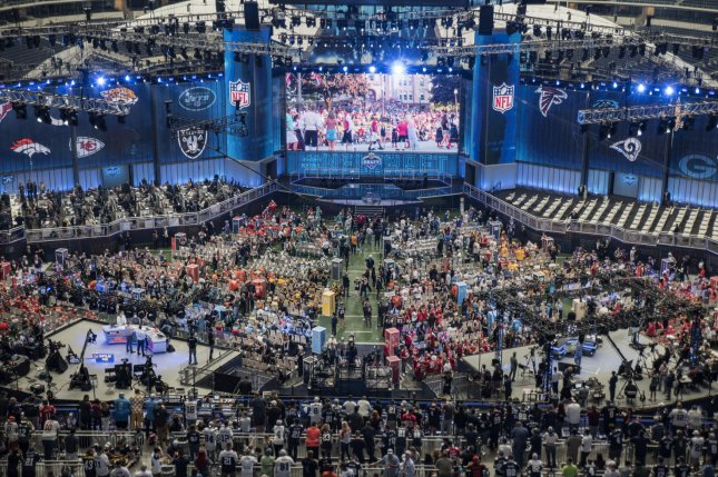 Fans and media prepare for the start of the 2018 NFL Draft on April 26, 2018 at AT&T Stadium in Arlington, Texas. Photo by Sergio Flores/UPI