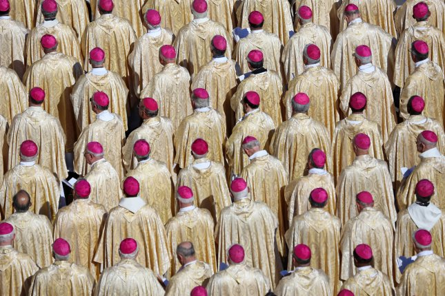 Bishops watch a beatification ceremony for Pope Paul VI at St. Peter's Basilica in Vatican City near Rome on October 19, 2014. File Photo by David Silpa/UPI