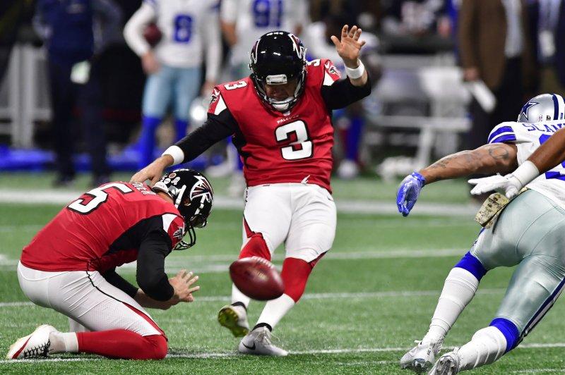 Atlanta Falcons kicker Matt Bryant boots a 50-yard field goal against the Dallas Cowboys during their game last season. Photo by David Tulis/UPI