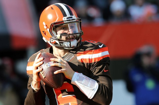Rookie quarterback Baker Mayfield and the Cleveland Browns face the Carolina Panthers on Sunday. Photo by Aaron Josefczyk/UPI