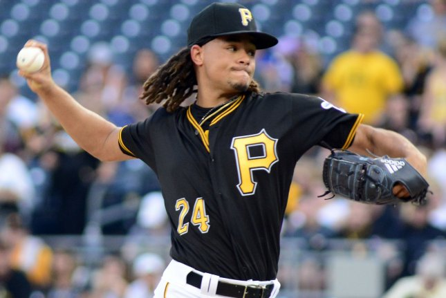 Pittsburgh Pirates right-handed pitcher Chris Archer will miss five games, pending appeal, after being suspended by Major League Baseball for intentionally throwing a pitch at a Cincinnati Reds batter on Sunday in Pittsburgh. File Photo by Archie Carpenter/UPI