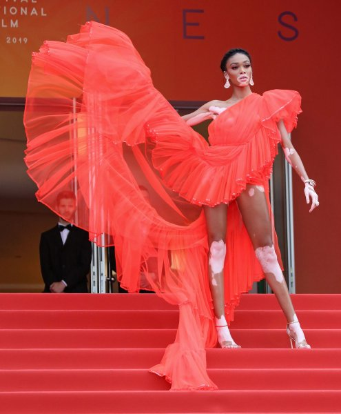 Winnie Harlow arrives on the red carpet before the screening of the film Once Upon A Time In ... Hollywood at the 72nd annual Cannes International Film Festival in Cannes, France, on May 21, 2019. Photo by David Silpa/UPI