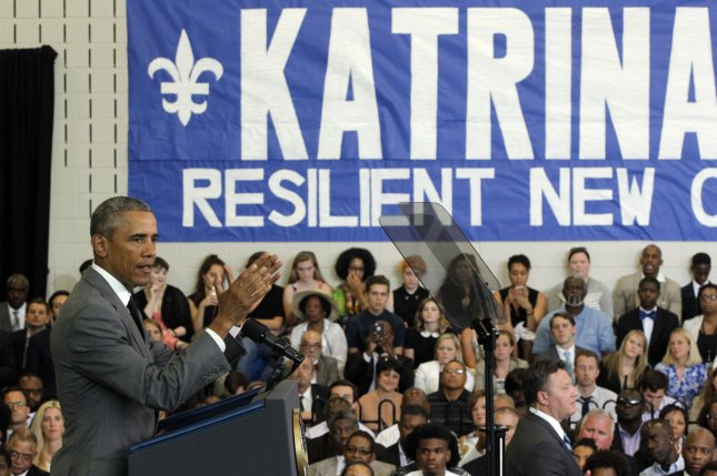 President Barack Obama speaks at Andrew P. Sanchez Community center in the Lower 9th Ward of New Orleans to mark the tenth anniversary of Hurricane Katrina, on August 29, 2015.. Photo by AJ Sisco/UPI
