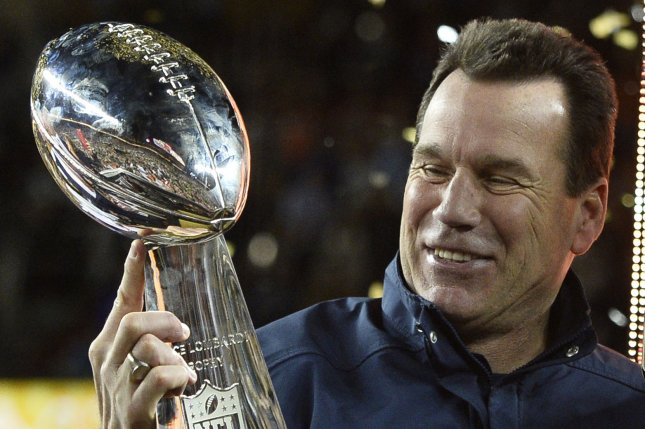 Denver Broncos Head Coach Gary Kubiak holds the Lombardi Trophy after Super Bowl 50 in Santa Clara, California on February 7, 2016. The Broncos defeated the Carolina Panthers 24-10. Photo by Brian Kersey/UPI