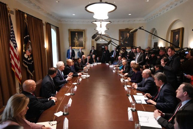 President Donald Trump meets with members of Congress Wednesday to discuss gun safety. The president also met with the NRA Thursday evening to continue the discussion. Photo by Pat Benic/UPI