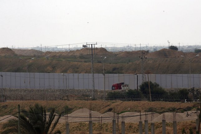 A picture taken in Rafah in the southern Gaza Strip at the border with Egypt shows a concrete wall under construction on the Egyptian side of the border on Wednesday. Photo by Ismael Mohamad/UPI
