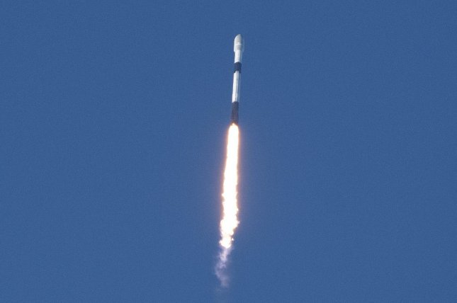 A SpaceX Falcon 9 rocket launches its 28th set of Starlink satellites at 6:56 p.m. Saturday from Complex 39A at Kennedy Space Center in Florida. Photo by Joe Marino/UPI
