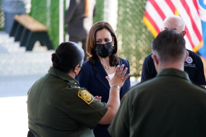 Vice President Kamala Harris tours the El Paso Border Patrol Station in El Paso, Texas, on June 25. File Photo by Yuri Gripas/UPI