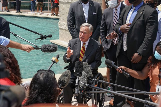 Texas Gov. Greg Abbott on Monday signed an executive order banning any entity in the state -- including private businesses -- from requiring COVID-19 vaccinations for its employees or customers.File Photo by Jemal Countess/UPI