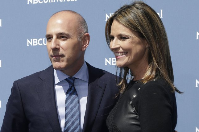 Savannah Guthrie (R) and Matt Lauer at the NBCUniversal Upfront on May 16. File Photo by John Angelillo/UPI