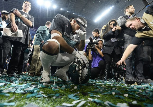 Former Philadelphia Eagles linebacker Mychal Kendricks celebrates a 41-33 win over the New England Patriots during Super Bowl LII at U.S. Bank Stadium in Minneapolis, Minnesota on February 4. Photo by Brian Kersey/UPI