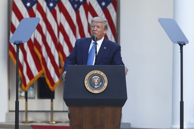 President Donald Trump delivers remarks in the Rose Garden at the White House on Monday on  the death of George Floyd in police custody. Photo by Shawn Thew/UPI