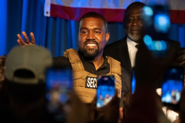 Kanye West premiered his 10th album, Donda, at a listening party attended by Kim Kardashian and their kids. File Photo by Richard Ellis/UPI