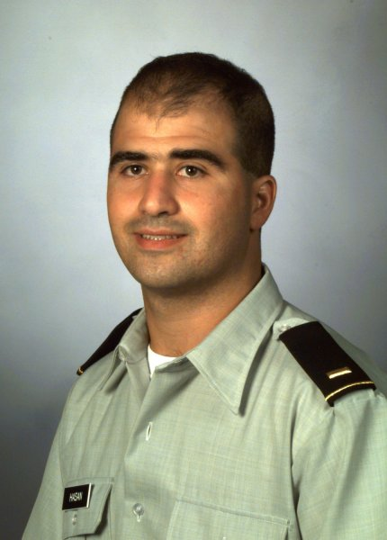 Maj. Nidal Malik Hasan, is shown in a 2000 file photo from the Uniformed Services University of the Health Sciences. Hasan may be paralyzed from the waist down according to a statement by his attorney on November 13, 2009. Hasan has been charged with 13 counts of premeditated murder stemming from the killings at Ft. Hood. UPI