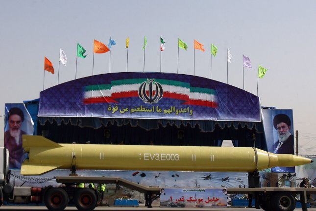 Iran's Qadr 1 missile is displayed during a military parade to mark the beginning of the 1980-1988 war between Iran and Iraq on September 22,2009 in Tehran, Iran. UPI/Maryam Rahmanian