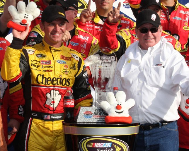 Chase Contender Clint Bowyer and car owner Richard Childress celebrate winning the NASCAR Sprint Cup SYLVANIA 300 Race at New Hampshire Motor Speedway in Loudon, New Hampshire on September 19, 2010 . UPI/Malcolm Hope