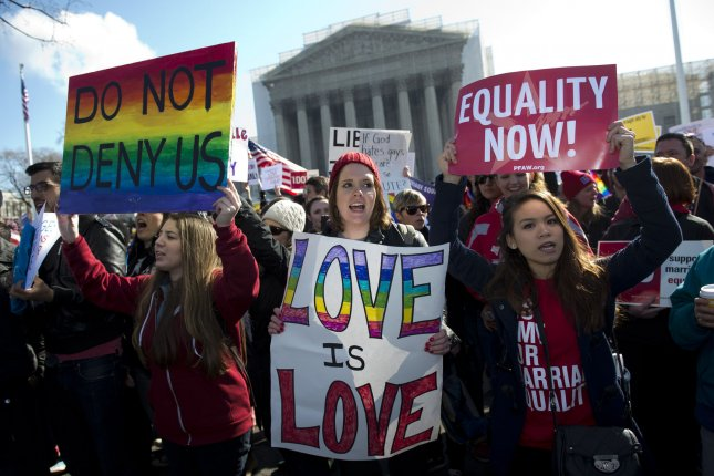 In a one-sentence order Friday, the U.S. Supreme Court cleared the way for gay couples to begin marrying in Alaska. UPI/Kevin Dietsch